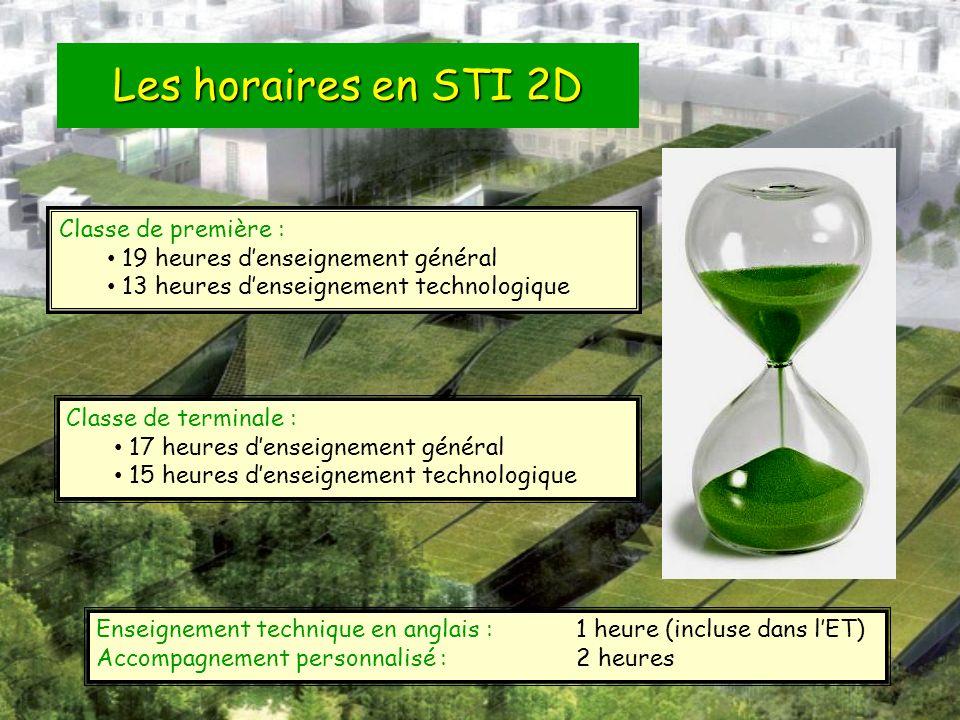 Les horaires en STI 2D Classe de première : 19 heures denseignement général 13 heures denseignement technologique Classe de terminale : 17 heures dens
