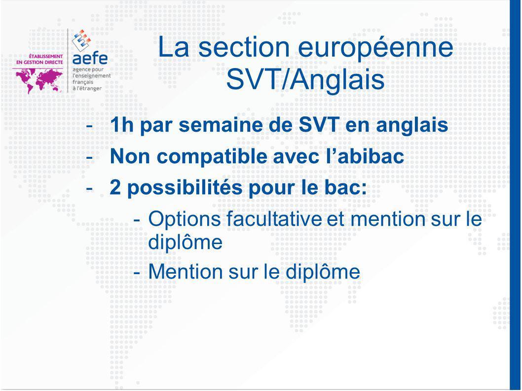 La section européenne SVT/Anglais -1h par semaine de SVT en anglais -Non compatible avec labibac -2 possibilités pour le bac: -Options facultative et mention sur le diplôme -Mention sur le diplôme