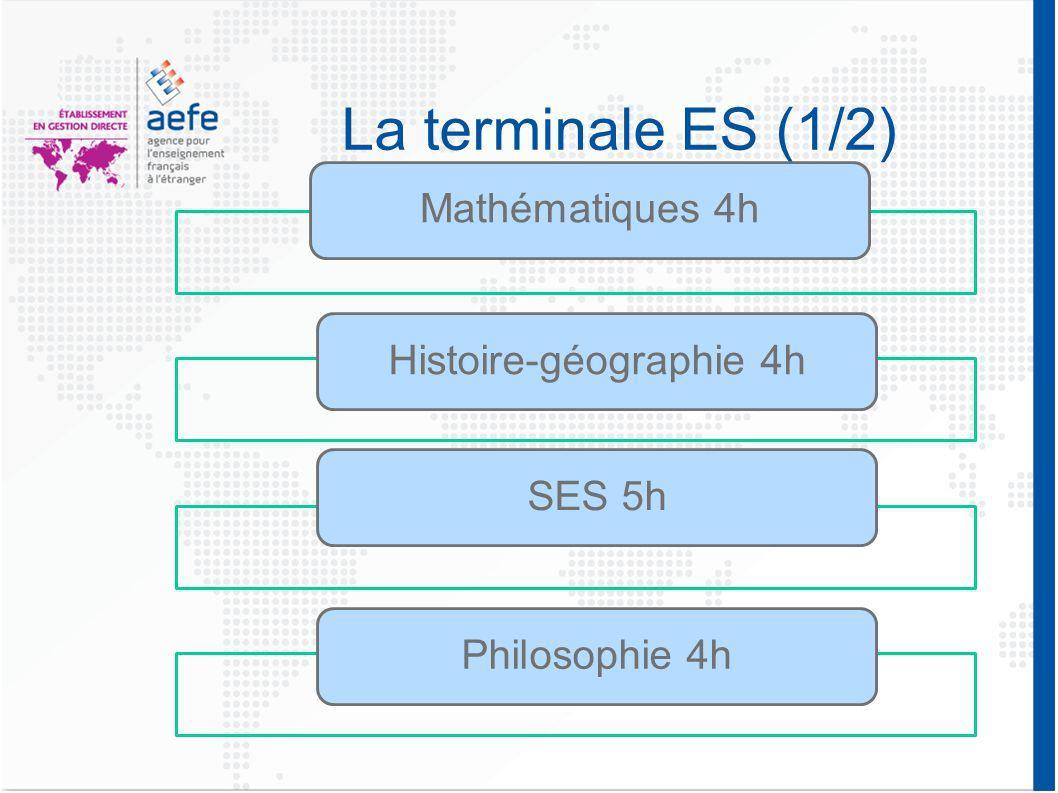 La terminale ES (2/2) Un enseignement de spécialité au choix: Mathématiques 1h30 Economie approfondie 1h30