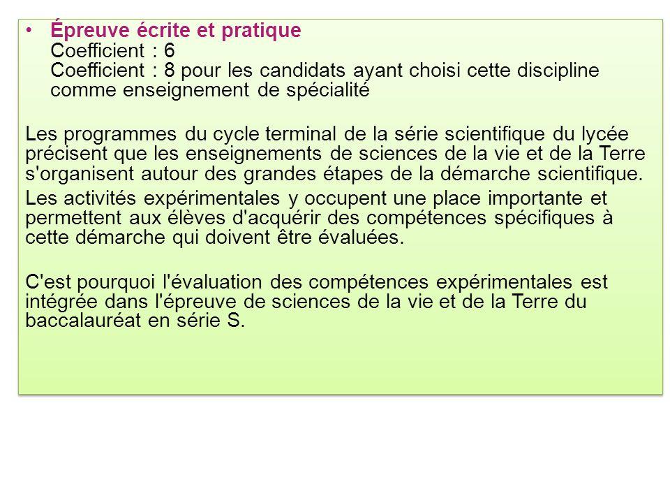 Épreuve écrite et pratique Coefficient : 6 Coefficient : 8 pour les candidats ayant choisi cette discipline comme enseignement de spécialité Les progr