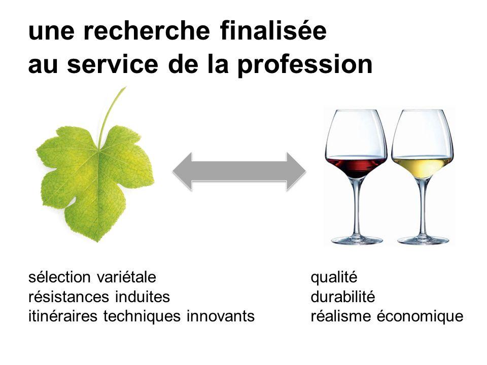 une recherche finalisée au service de la profession sélection variétale résistances induites itinéraires techniques innovants qualité durabilité réalisme économique