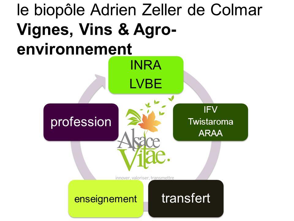 Transfert INRA LVBE IFV Twistaroma ARAA transfert enseignement profession le biopôle Adrien Zeller de Colmar Vignes, Vins & Agro- environnement