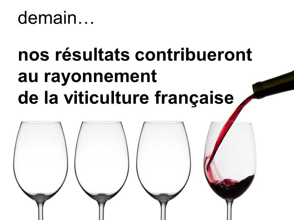 demain… nos résultats contribueront au rayonnement de la viticulture française