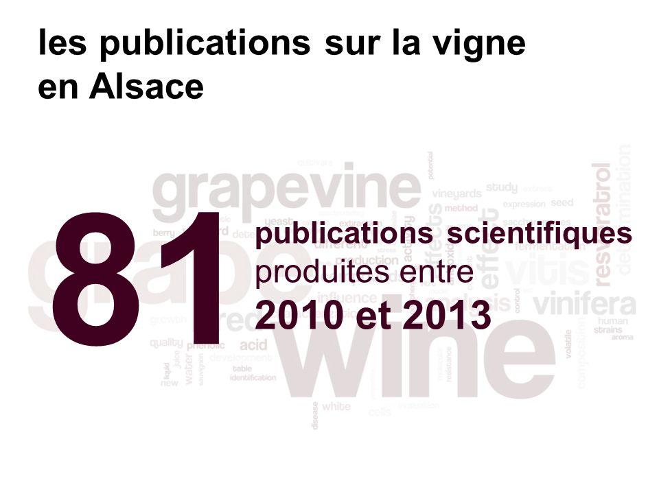 81 publications scientifiques produites entre 2010 et 2013 les publications sur la vigne en Alsace