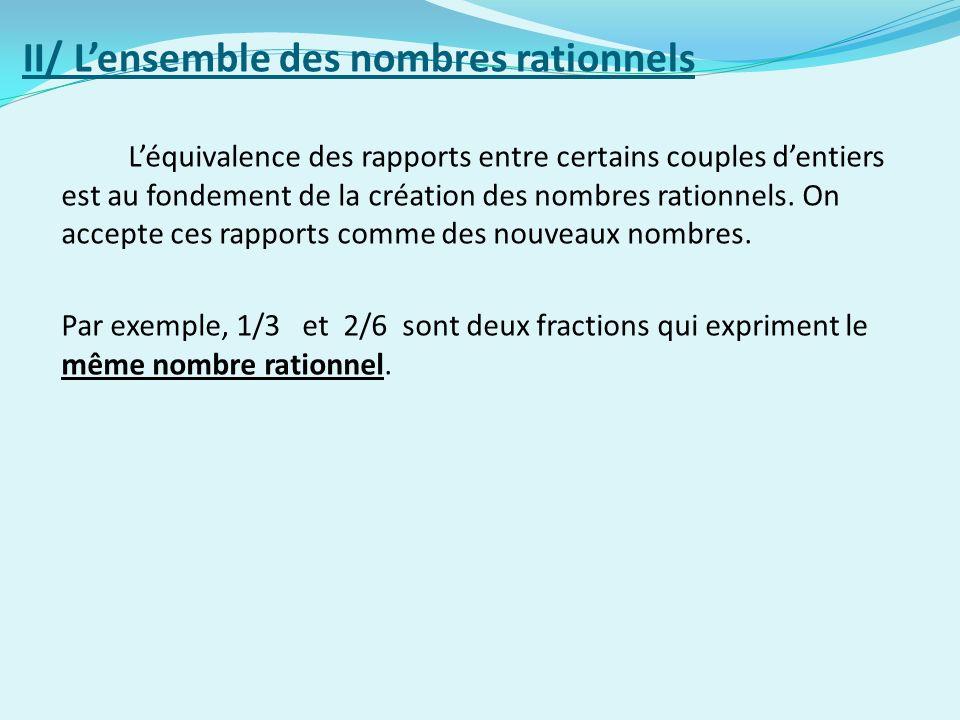 II/ Lensemble des nombres rationnels Léquivalence des rapports entre certains couples dentiers est au fondement de la création des nombres rationnels.
