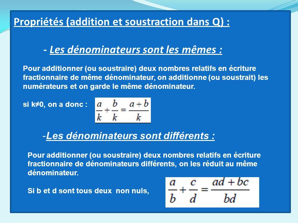 Propriétés (addition et soustraction dans Q) : - Les dénominateurs sont les mêmes : Pour additionner (ou soustraire) deux nombres relatifs en écriture