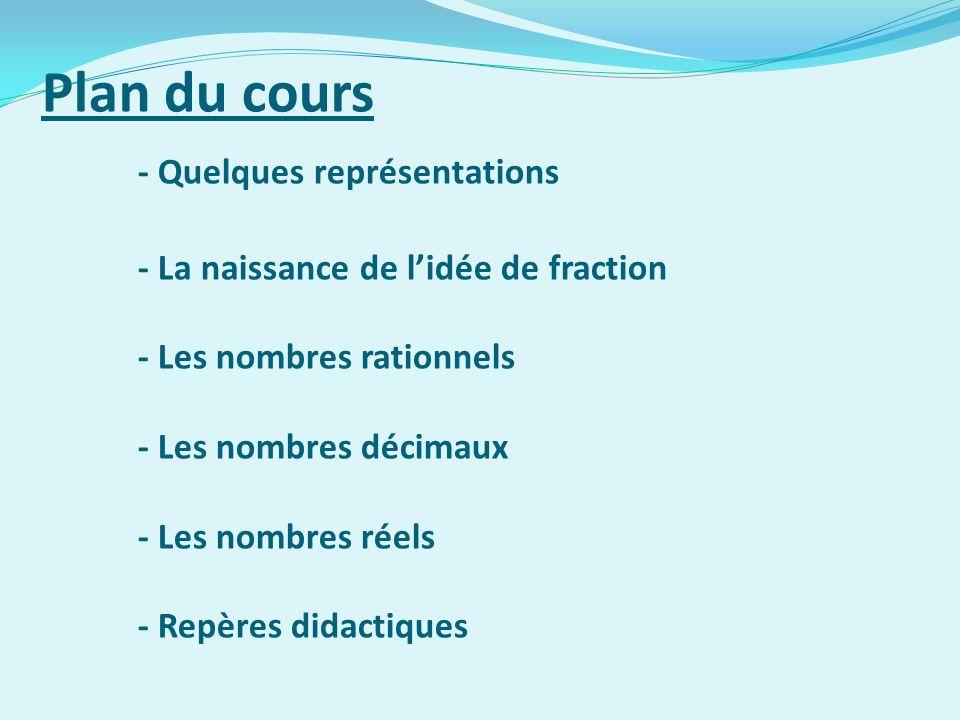 Plan du cours - Quelques représentations - La naissance de lidée de fraction - Les nombres rationnels - Les nombres décimaux - Les nombres réels - Rep