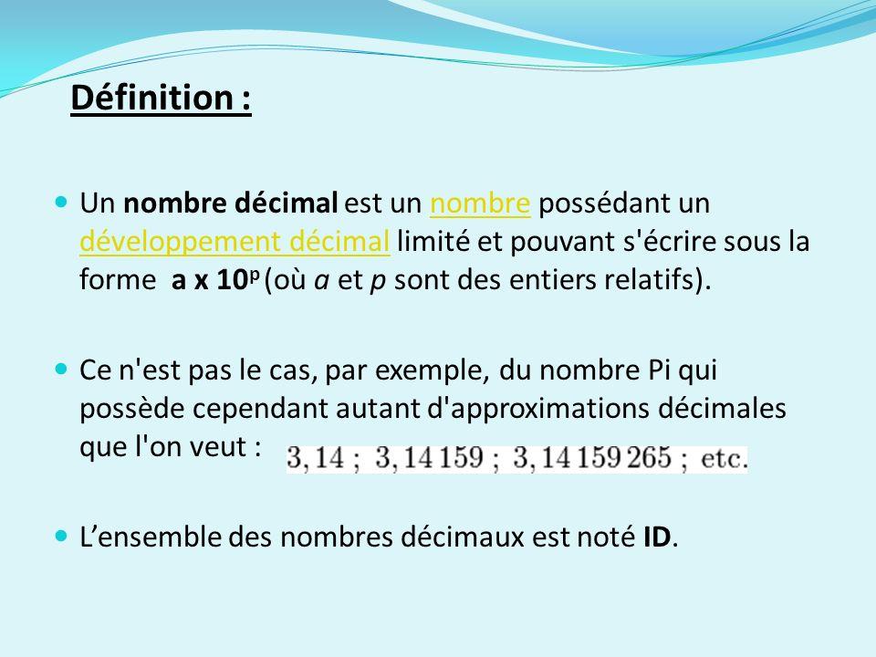 Définition : Un nombre décimal est un nombre possédant un développement décimal limité et pouvant s'écrire sous la forme a x 10 p (où a et p sont des