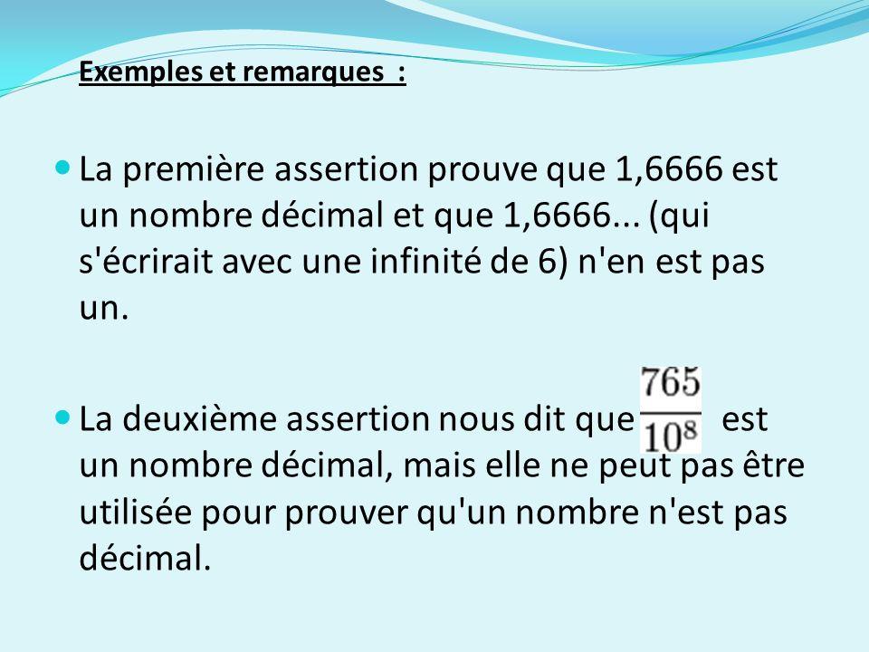 Exemples et remarques : La première assertion prouve que 1,6666 est un nombre décimal et que 1,6666... (qui s'écrirait avec une infinité de 6) n'en es