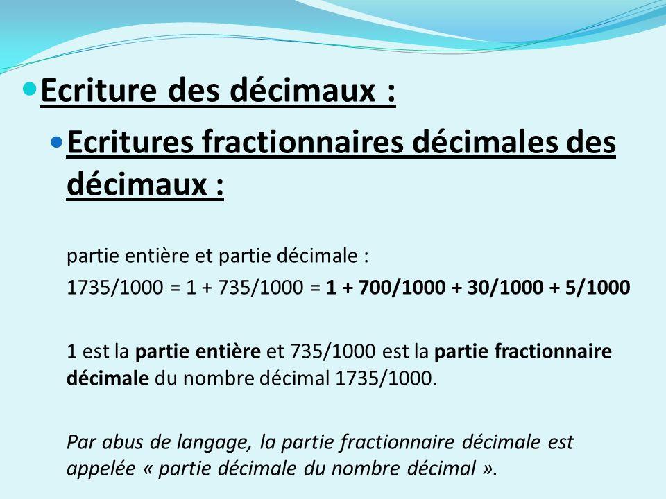 Ecriture des décimaux : Ecritures fractionnaires décimales des décimaux : partie entière et partie décimale : 1735/1000 = 1 + 735/1000 = 1 + 700/1000