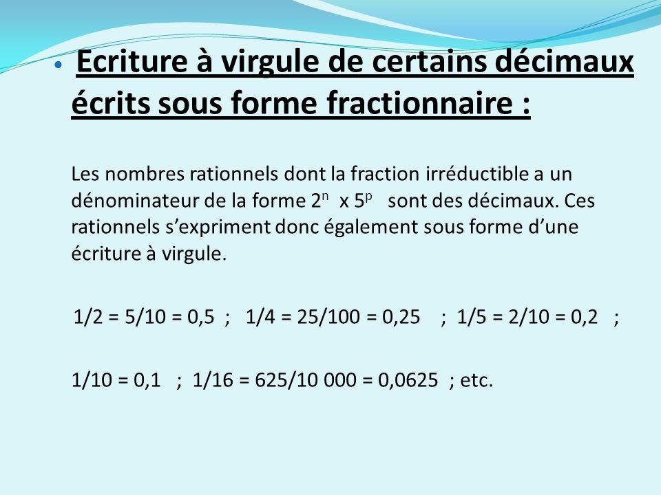 Ecriture à virgule de certains décimaux écrits sous forme fractionnaire : Les nombres rationnels dont la fraction irréductible a un dénominateur de la