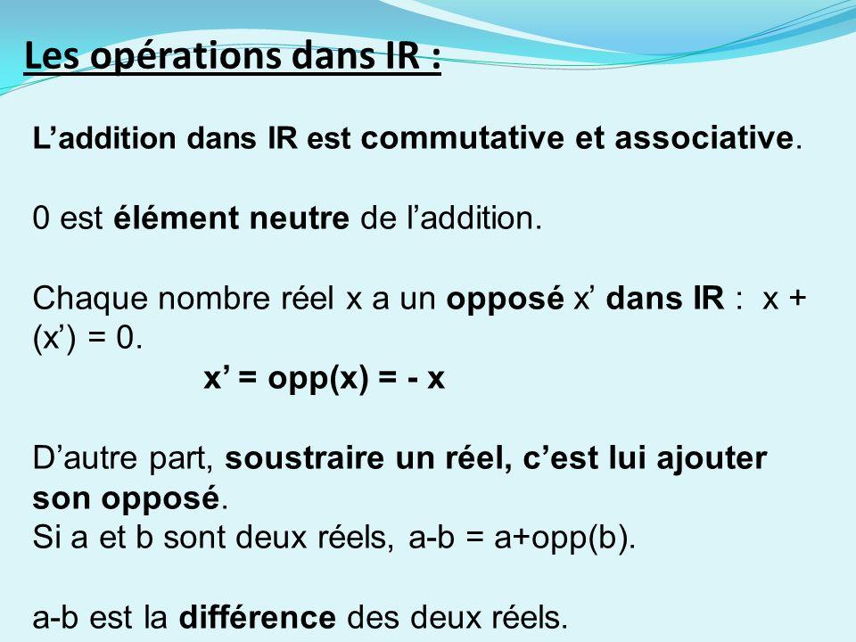 Les opérations dans IR : Laddition dans IR est commutative et associative. 0 est élément neutre de laddition. Chaque nombre réel x a un opposé x dans
