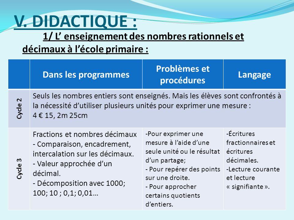 V. DIDACTIQUE : 1/ L enseignement des nombres rationnels et décimaux à lécole primaire : Dans les programmes Problèmes et procédures Langage Cycle 2 S