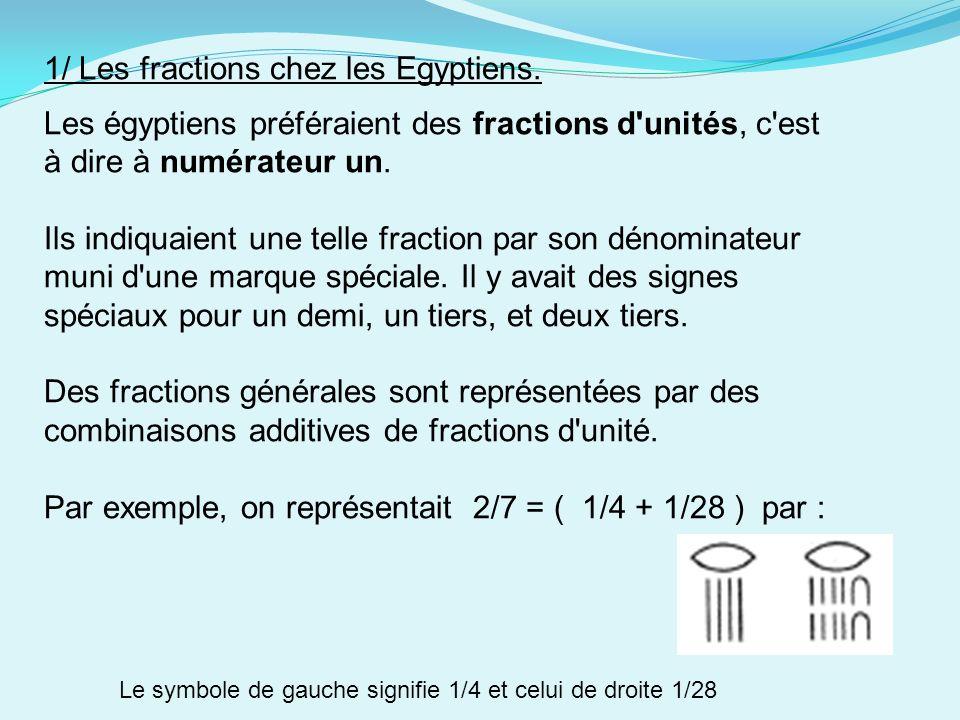 1/ Les fractions chez les Egyptiens. Les égyptiens préféraient des fractions d'unités, c'est à dire à numérateur un. Ils indiquaient une telle fractio