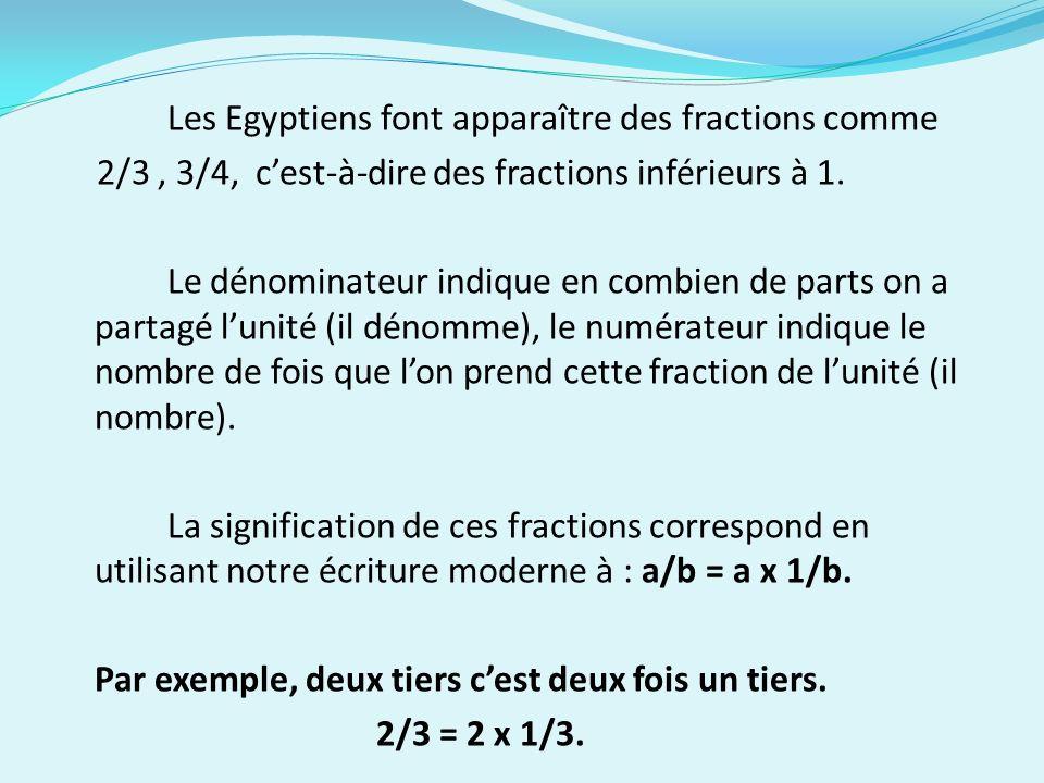 Les Egyptiens font apparaître des fractions comme 2/3, 3/4, cest-à-dire des fractions inférieurs à 1. Le dénominateur indique en combien de parts on a