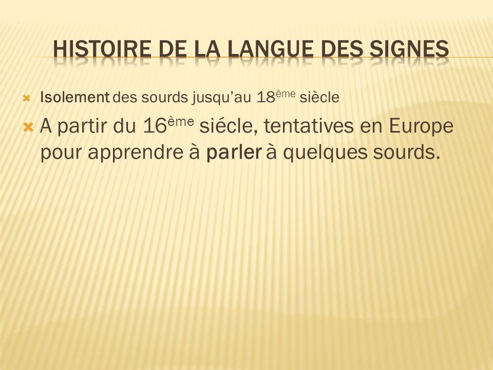 A partir du 16 ème siécle, tentatives en Europe pour apprendre à parler à quelques sourds.