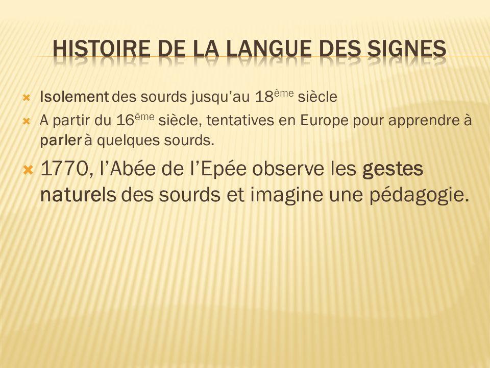 Isolement des sourds jusquau 18 ème siècle A partir du 16 ème siècle, tentatives en Europe pour apprendre à parler à quelques sourds. 1770, lAbée de l