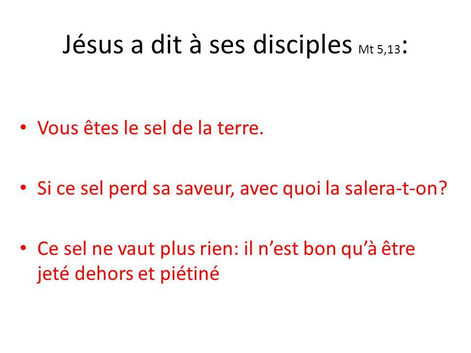 Jésus a dit à ses disciples Mt 5,13 : Vous êtes le sel de la terre.