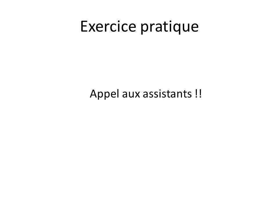 Exercice pratique Appel aux assistants !!