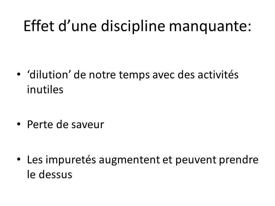 Effet dune discipline manquante: dilution de notre temps avec des activités inutiles Perte de saveur Les impuretés augmentent et peuvent prendre le dessus