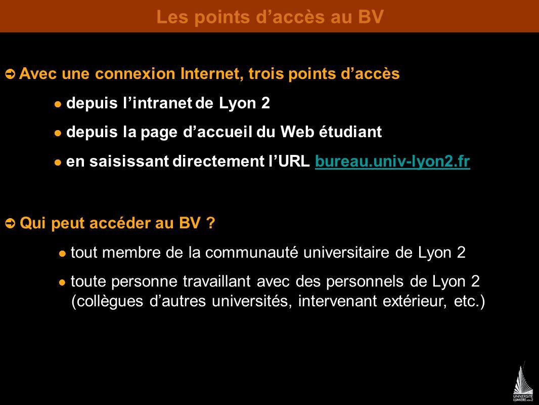 Les points daccès au BV Avec une connexion Internet, trois points daccès depuis lintranet de Lyon 2 depuis la page daccueil du Web étudiant en saisissant directement lURL bureau.univ-lyon2.frbureau.univ-lyon2.fr Qui peut accéder au BV .
