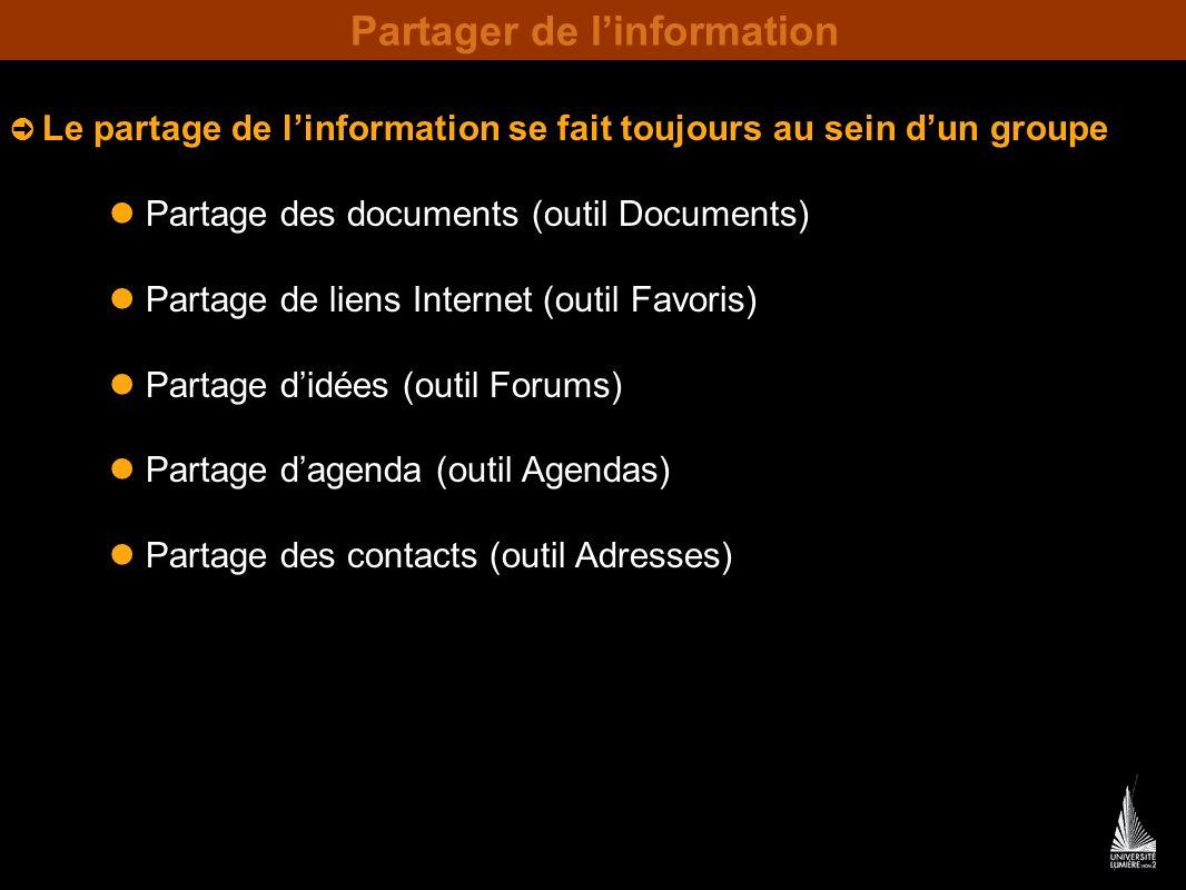 Partager de linformation Le partage de linformation se fait toujours au sein dun groupe Partage des documents (outil Documents) Partage de liens Internet (outil Favoris) Partage didées (outil Forums) Partage dagenda (outil Agendas) Partage des contacts (outil Adresses)
