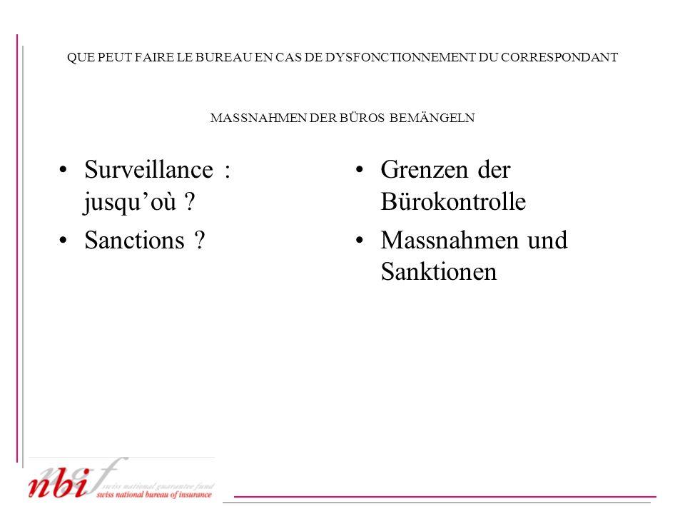 QUE PEUT FAIRE LE BUREAU EN CAS DE DYSFONCTIONNEMENT DU CORRESPONDANT MASSNAHMEN DER BÜROS BEMÄNGELN Surveillance : jusquoù ? Sanctions ? Grenzen der