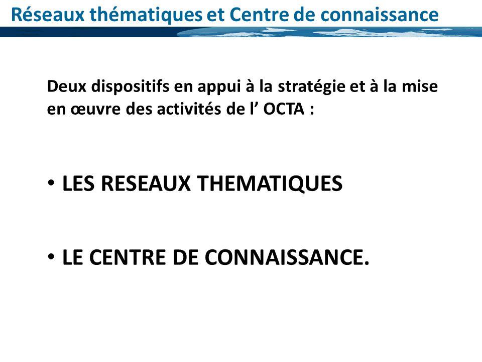Réseaux thématiques et Centre de connaissance Deux dispositifs en appui à la stratégie et à la mise en œuvre des activités de l OCTA : LES RESEAUX THE