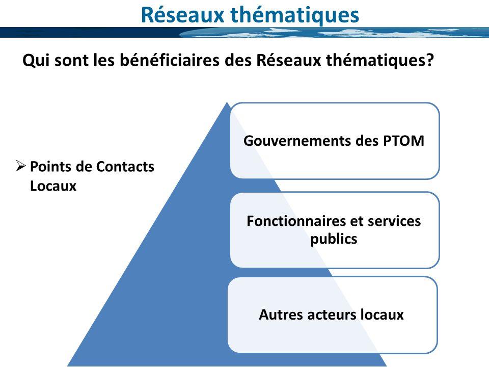 Gouvernements des PTOM Fonctionnaires et services publics Autres acteurs locaux Réseaux thématiques Qui sont les bénéficiaires des Réseaux thématiques