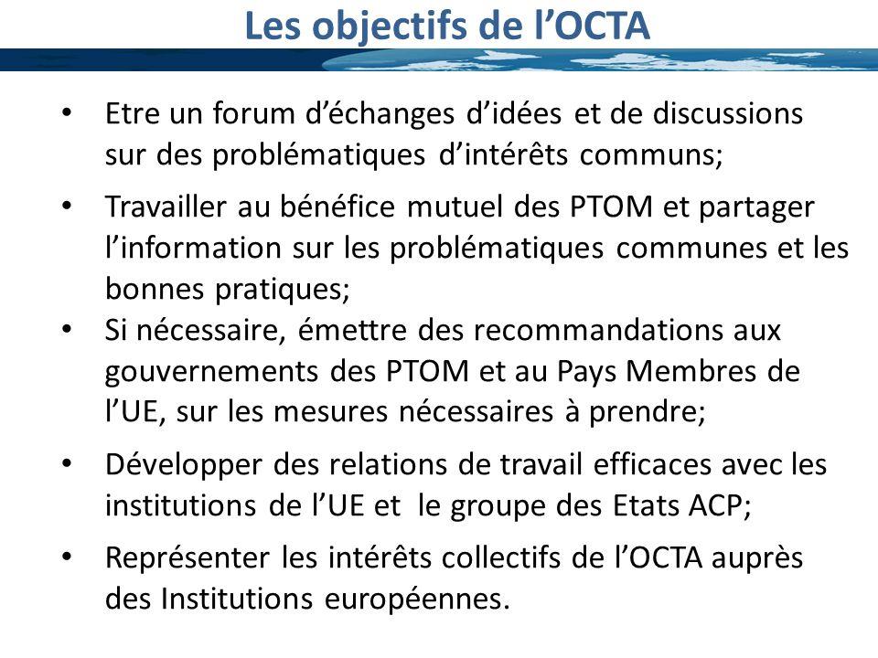 Les objectifs de lOCTA Etre un forum déchanges didées et de discussions sur des problématiques dintérêts communs; Travailler au bénéfice mutuel des PT