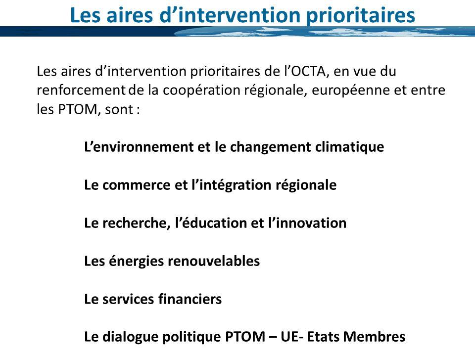Les aires dintervention prioritaires Les aires dintervention prioritaires de lOCTA, en vue du renforcement de la coopération régionale, européenne et