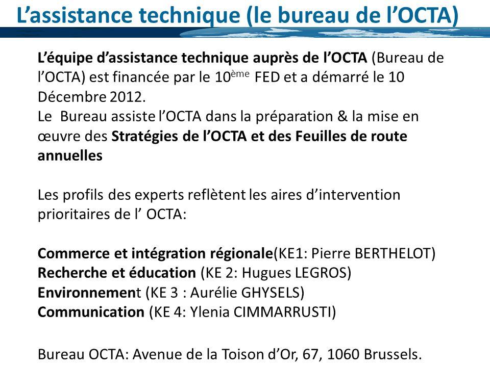 Léquipe dassistance technique auprès de lOCTA (Bureau de lOCTA) est financée par le 10 ème FED et a démarré le 10 Décembre 2012. Le Bureau assiste lOC