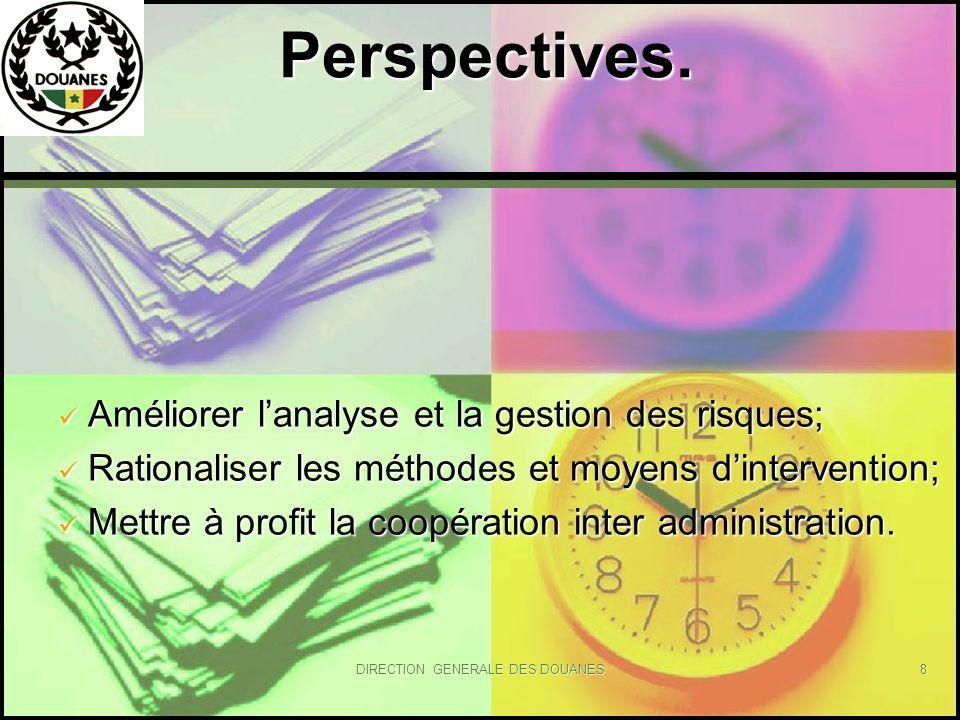 DIRECTION GENERALE DES DOUANES8 Perspectives. Perspectives. Améliorer lanalyse et la gestion des risques; Améliorer lanalyse et la gestion des risques