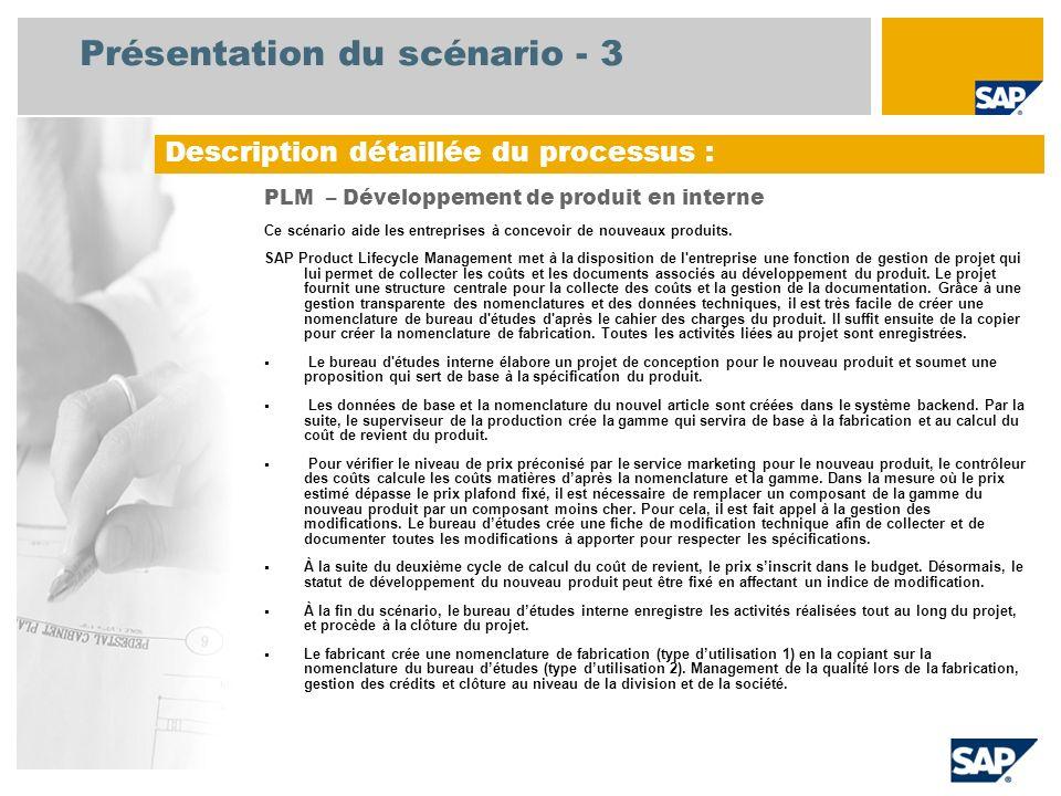 Présentation du scénario - 3 Description détaillée du processus : PLM – Développement de produit en interne Ce scénario aide les entreprises à concevo
