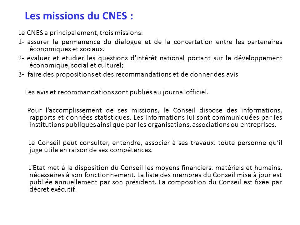 Présentation du cnes Le Conseil National Economique et Social est un organe consultatif permanent de dialogue et de concertation dans les domaines économique.