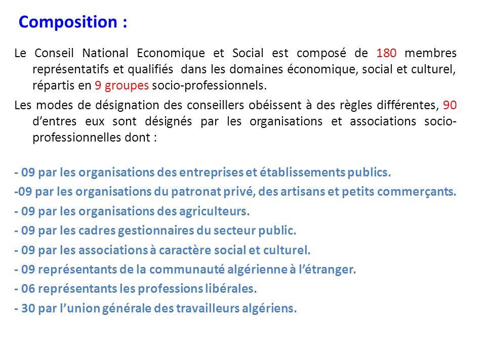 Les missions du CNES : Le CNES a principalement, trois missions: 1- assurer la permanence du dialogue et de la concertation entre les partenaires économiques et sociaux.