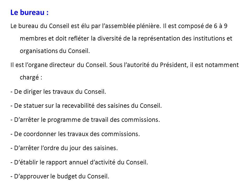 Le président : Le Président du CNES est élu par le bureau du CNES à la majorité absolue.