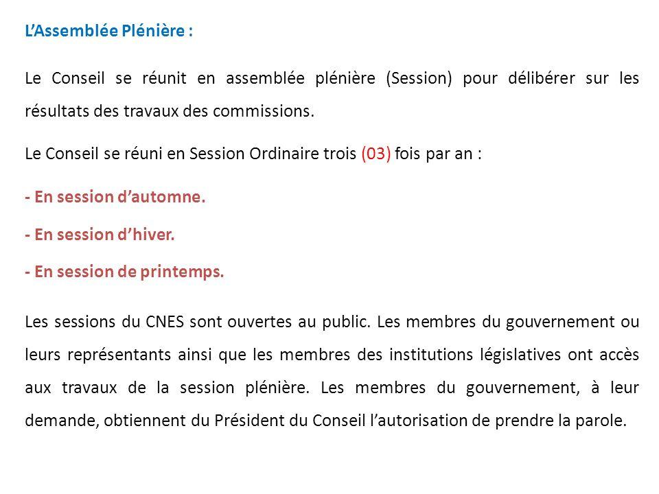 Le bureau : Le bureau du Conseil est élu par lassemblée plénière.