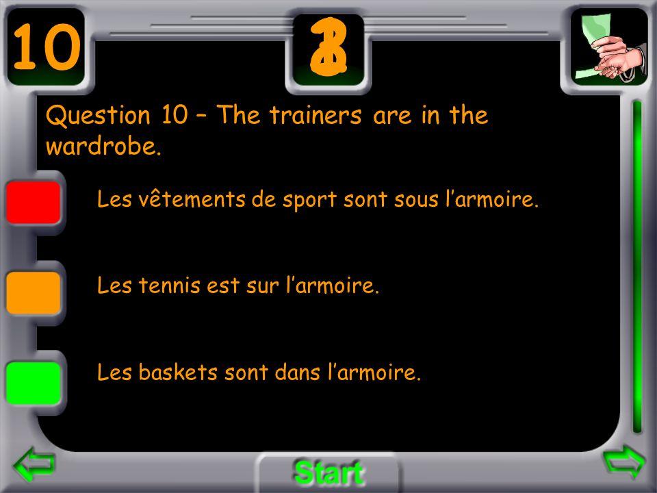 Question 10 – The trainers are in the wardrobe. Les vêtements de sport sont sous larmoire. Les tennis est sur larmoire. Les baskets sont dans larmoire
