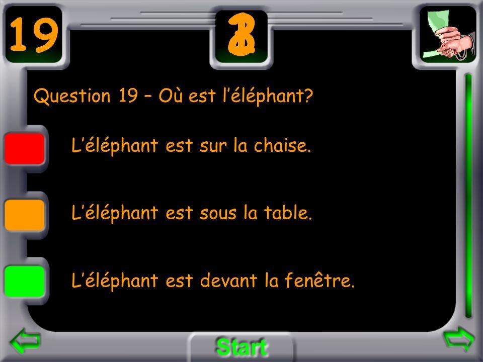 Question 19 – Où est léléphant? Léléphant est sur la chaise. Léléphant est sous la table. Léléphant est devant la fenêtre. 19 3 21