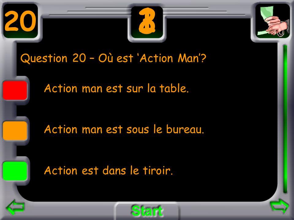 Question 20 – Où est Action Man? Action man est sur la table. Action man est sous le bureau. Action est dans le tiroir. 20 3 21
