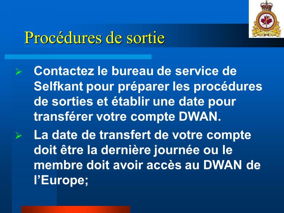 Procédures de sortie Contactez le bureau de service de Selfkant pour préparer les procédures de sorties et établir une date pour transférer votre compte DWAN.