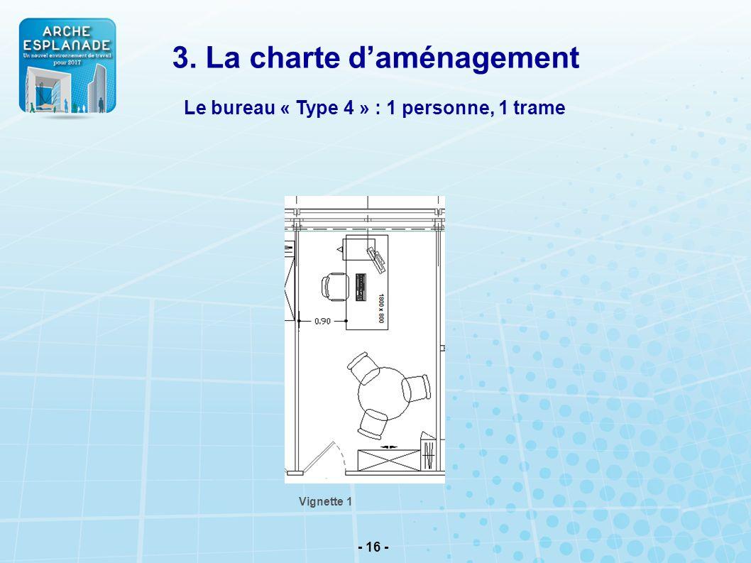 - 16 - Le bureau « Type 4 » : 1 personne, 1 trame Vignette 1 3. La charte daménagement