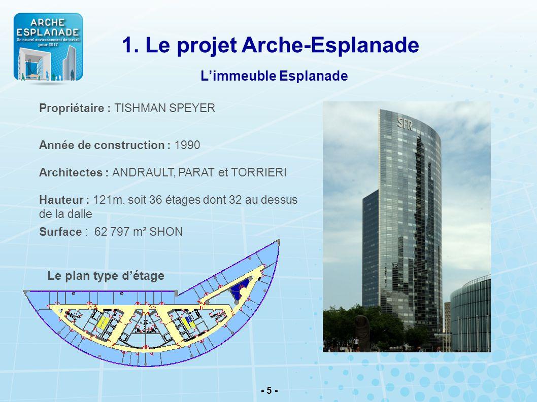 - 5 - Propriétaire : TISHMAN SPEYER Année de construction : 1990 Architectes : ANDRAULT, PARAT et TORRIERI Hauteur : 121m, soit 36 étages dont 32 au d