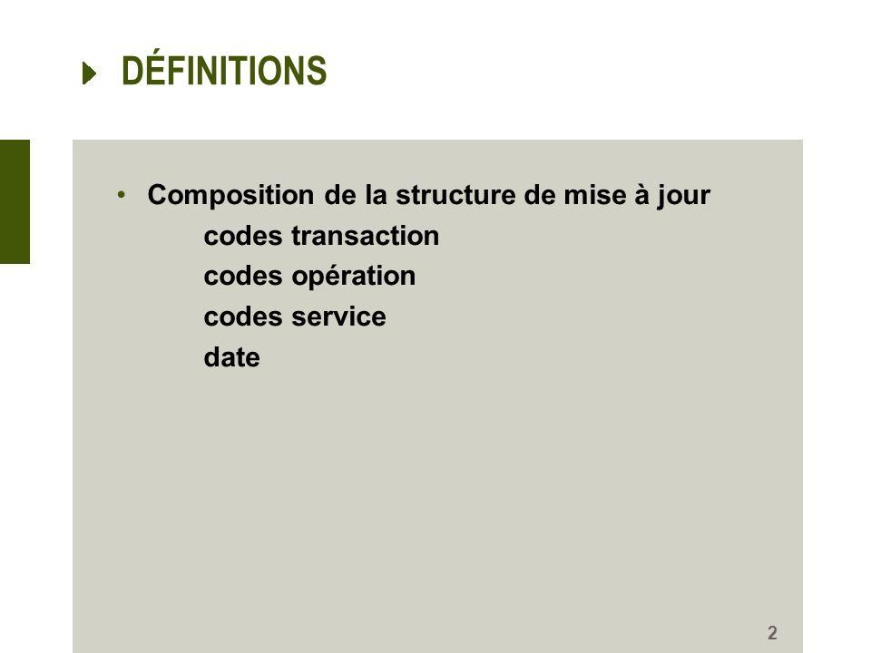 2 DÉFINITIONS Composition de la structure de mise à jour codes transaction codes opération codes service date