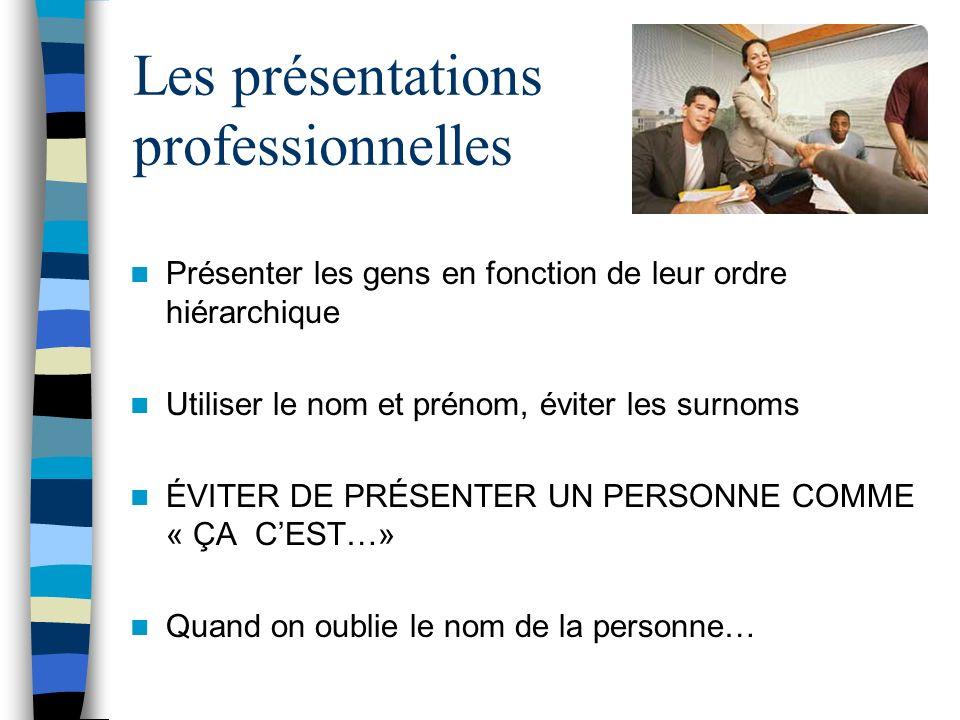 Les présentations professionnelles Présenter les gens en fonction de leur ordre hiérarchique Utiliser le nom et prénom, éviter les surnoms ÉVITER DE P