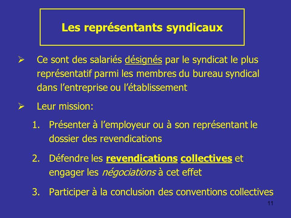 11 Les représentants syndicaux Ce sont des salariés désignés par le syndicat le plus représentatif parmi les membres du bureau syndical dans lentrepri
