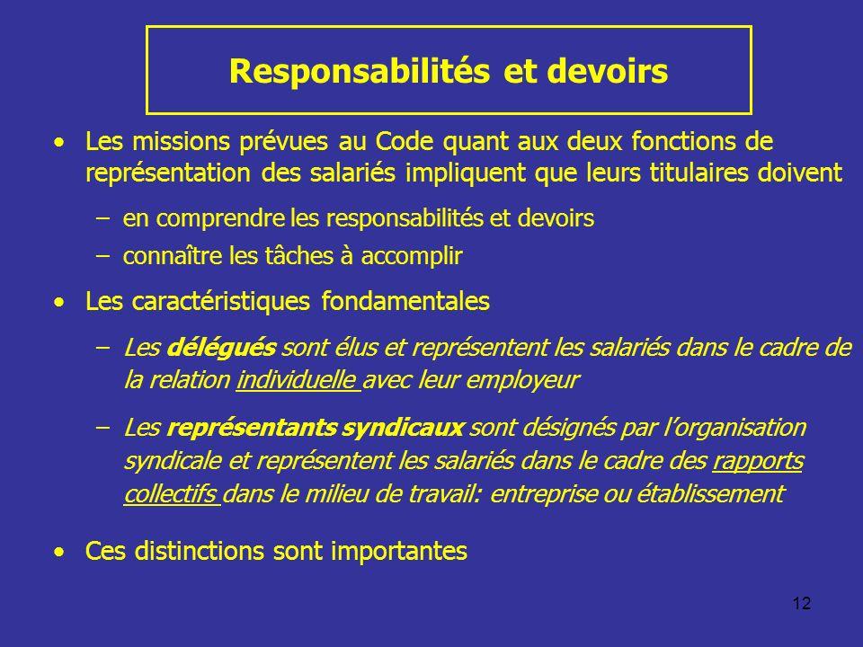 12 Responsabilités et devoirs Les missions prévues au Code quant aux deux fonctions de représentation des salariés impliquent que leurs titulaires doi