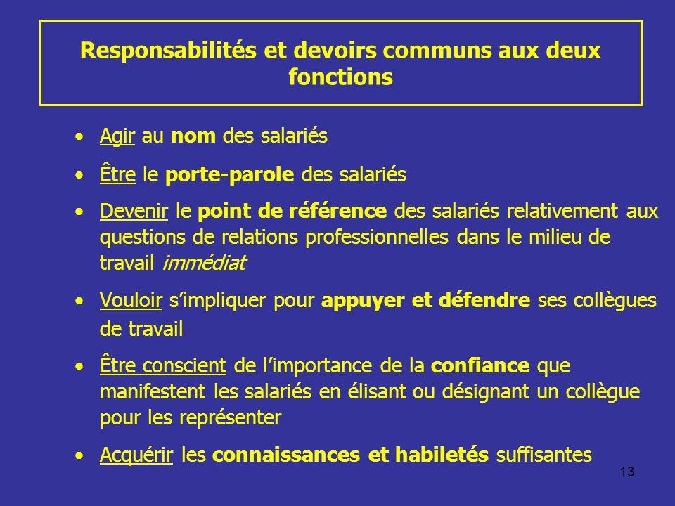 13 Responsabilités et devoirs communs aux deux fonctions Agir au nom des salariés Être le porte-parole des salariés Devenir le point de référence des
