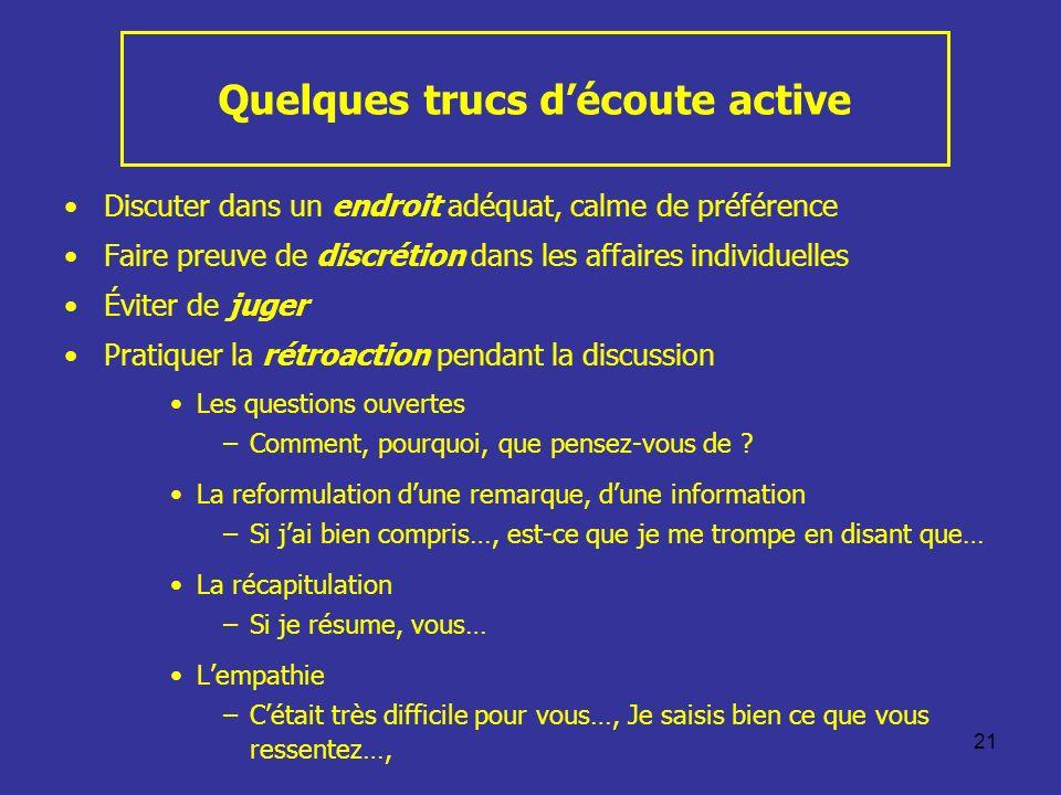 21 Quelques trucs découte active Discuter dans un endroit adéquat, calme de préférence Faire preuve de discrétion dans les affaires individuelles Évit